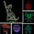 Regalos de navidad Año Nuevo para Niños Gato Atmósfera 3D Lámpara de Niño Dormitorio Chico Maravilla Ilusión Táctil LED de Control Remoto Luz de La Noche