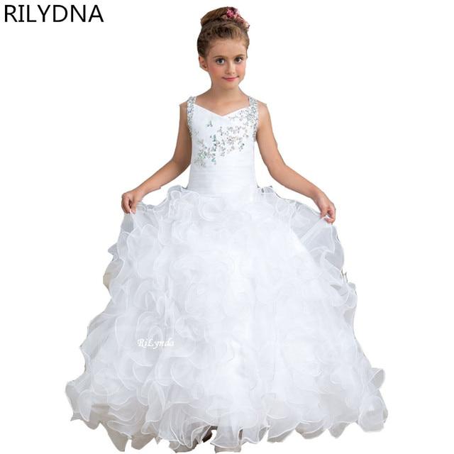 Süße Mädchen Pageant Kleid Spitze Appliques Rüschen Reißverschluss ...