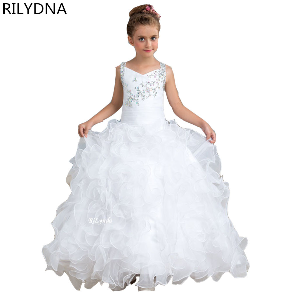 Sweet Girl Pageant Dress Lace Appliques Ruffled Zipper Up Peach Organza Tulle Ball Gown Wedding Child Dress Sheer Neck