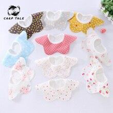 Cotton Newborn three-layer cotton waterproof bib polka dot baby saliva towel Children bib newborn baby bib 2019 new baby bib