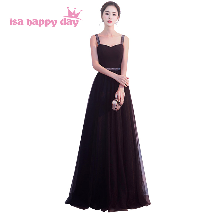 Long événement noir étage longueur robe de soirée occasion spéciale femmes pageant robes de soirée spaghetti sangle robe de bal 2019 H4221