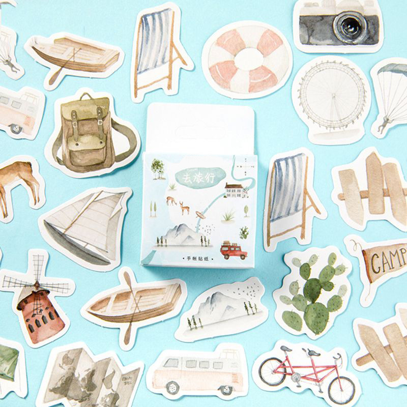 46Pcs/lot Travel Life Camera Sailboat Paper Sticker Decoration Stickers DIY Ablum Diary Scrapbooking Label Sticker Gifts