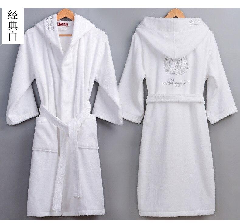 Haute qualité hommes hiver peignoir mâle Long épais chaud serviette éponge robe de chambre Couple maison à capuche Robes de bain