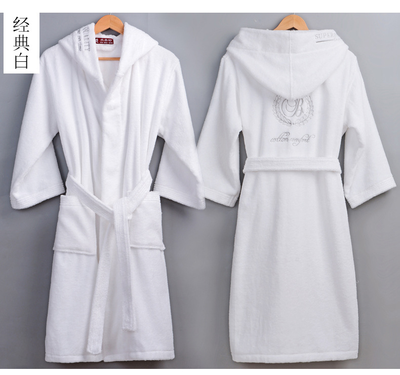 High Quality Men's Winter Bathrobe Male Long Thick Warm Terry Towel Dressing Gown Couple Home Hooded Bath Robes