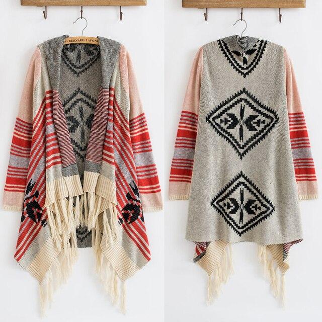 New New Spring Winter Vintage 70s Cardigan Knit Stripe Blanket Gypsy  SW71