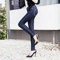 Осень-Весна Женщины Длинные Брюки Узкие Брюки Европейский Стиль Синий высокая Талия Кнопка Fly Рваные Джинсы брюки