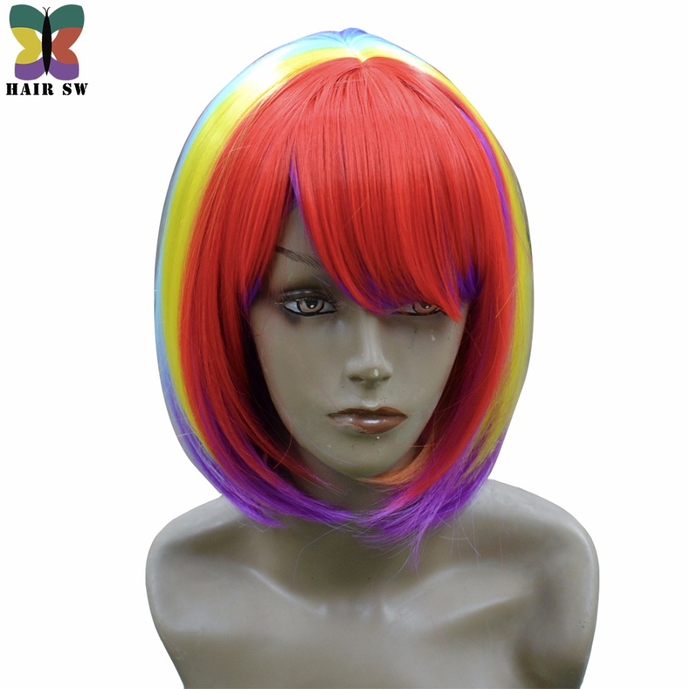 HAIR SW Short Bob Straight Party city Cosplay Synthetic Wig Rainbow Multicolor with longer bangs For Halloween And Rock Star