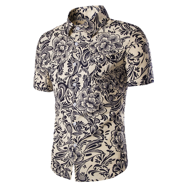 Summer Style Hawaiian Shirt Men 2017 Brand New Short Sleeve Mens Beach Shirt Casual Slim Fit 3D Print Hawaii Shirt Chemise Homme