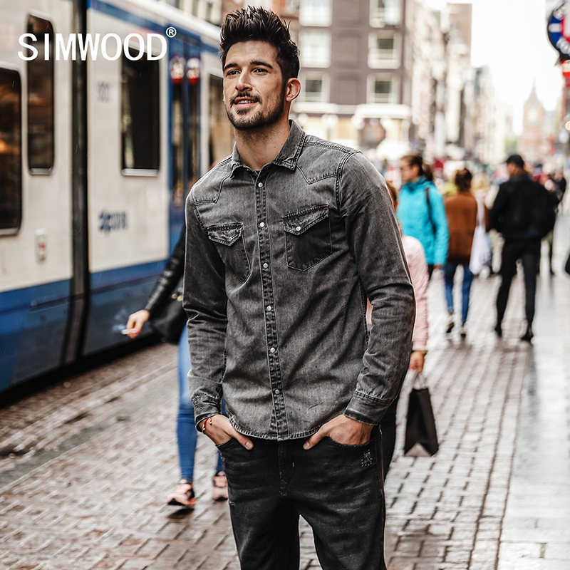 SIMWOOD 2018 New High Quality Shirts Men Long Sleeve Fashion Casual Leisure Shirt Male Denim Camisa Masculina Plus Size CC017005
