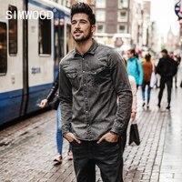 SIMWOOD 2018 New High Quality Shirts Men Long Sleeve Fashion Casual Leisure Shirt Male Denim Camisa