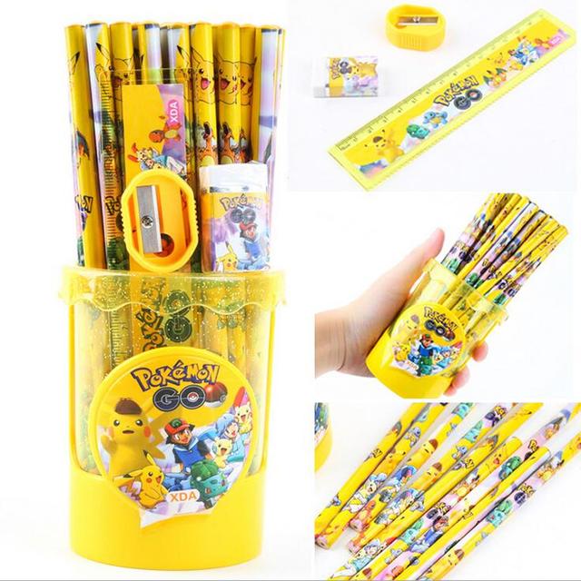54pcs/set pokemon go student stationery Pencil sharpener Pen holder Case ruler
