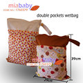 Miababy/feliz flauta 1 pcsdual cremalleras con asa doble bolsillos wetbag, Bolsa de pañales,
