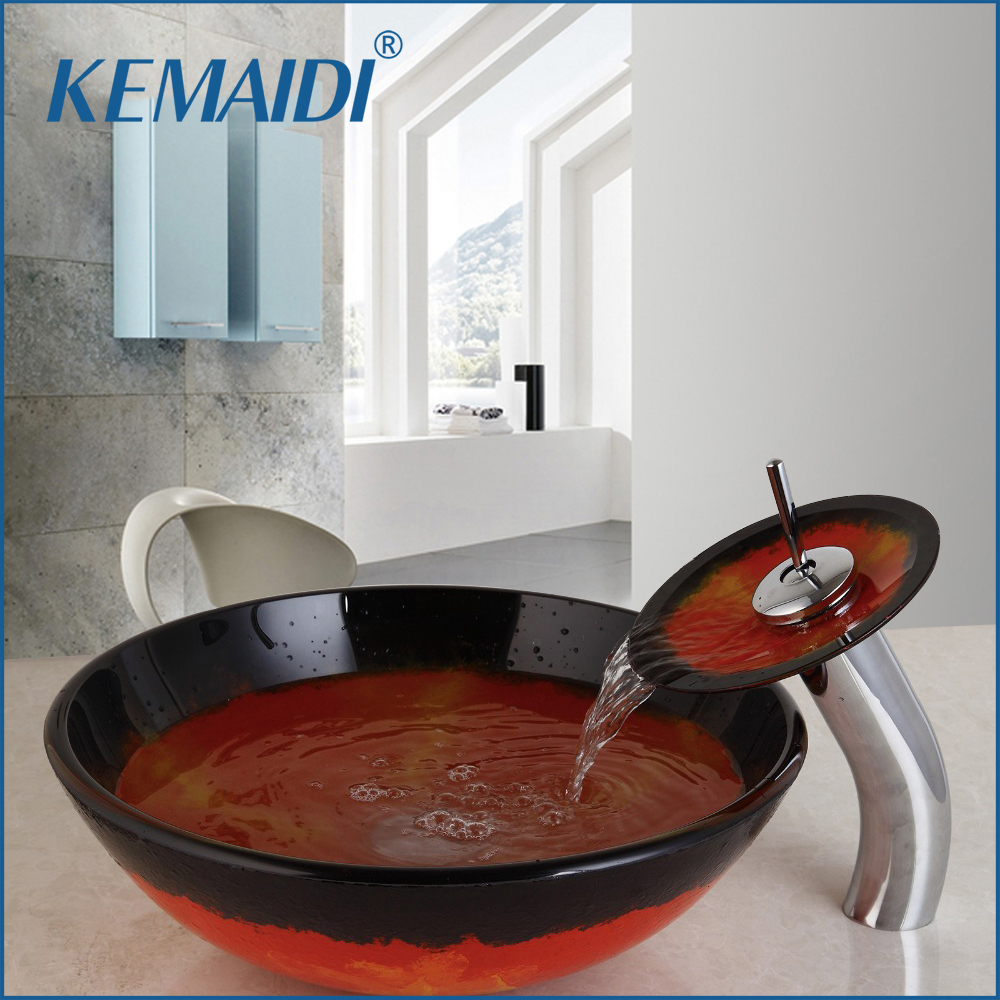 Bathroom basin sink - Tempered Glass Vessel Faucet Bowl Waterfall Spout Round Sink Bathroom Basin Sink Faucet Hot Cold