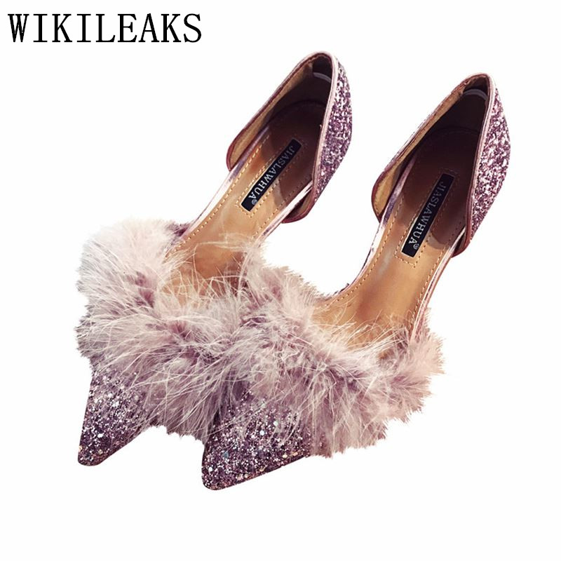 2018 Designer Bling Ladies Shoes Luxury Brand Pointed Toe Shoes Woman Fur High Heels Pumps Zapatos Mujer Tacon Valentine Shoes idg brand women slip on high heels short rough with the fall and winter metal buckle rivets shoes woman zapatos mujer tacon