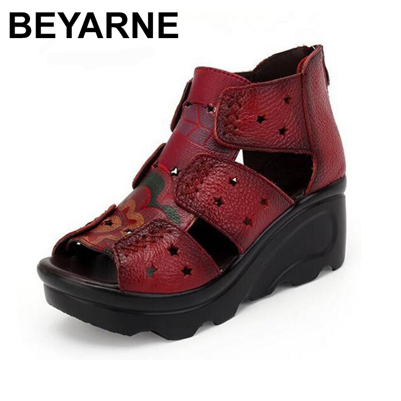 BEYARNE Brand Shoes Cow leather sandals 2018 Summer Wegdes shoes woman fashion sandals High heel Comfortable