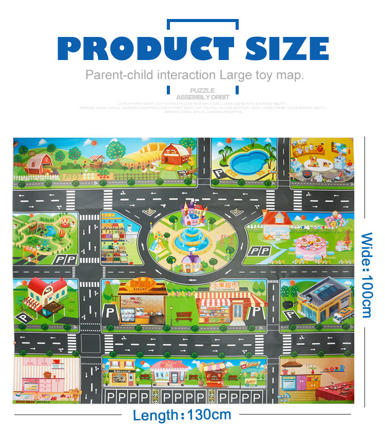 HTB1U489cbZnBKNjSZFrq6yRLFXaS 39Pcs City Map Car Toys Model Crawling Mat Game Pad for Children Interactive Play House Toys (28Pc Road Sign+10Pc Car+1Pc Map)