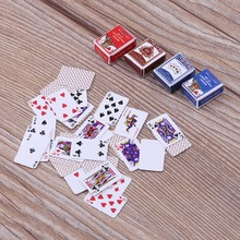 2set Mini Poker Card  Cute Miniature Dollhouse 1:12 Playing Cards Home Decoration Toys