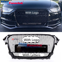 Car Racing Grille For Audi A4 B8.5 Grill 2013 2015 RS4 Style Logo Black Sliver Radiator Trim Front Bumper Modify Mesh Honeycomb
