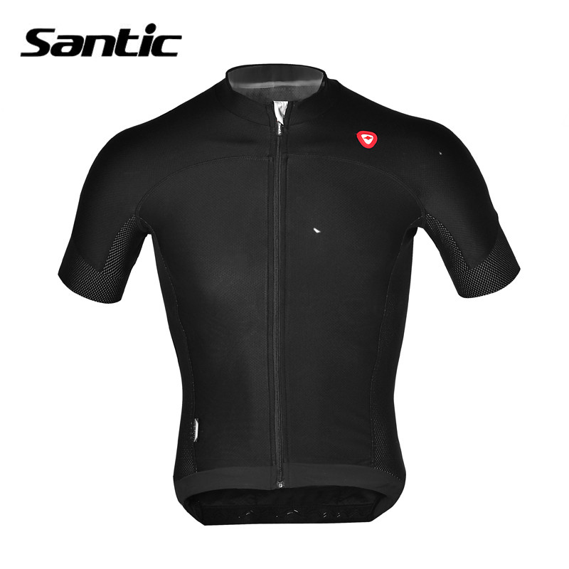 ФОТО High Quality Black White Men's Short Sleeve Bicycle Bike Cycling Jersey Summer Breathable Dry Sport Jersey Santic MC02072H