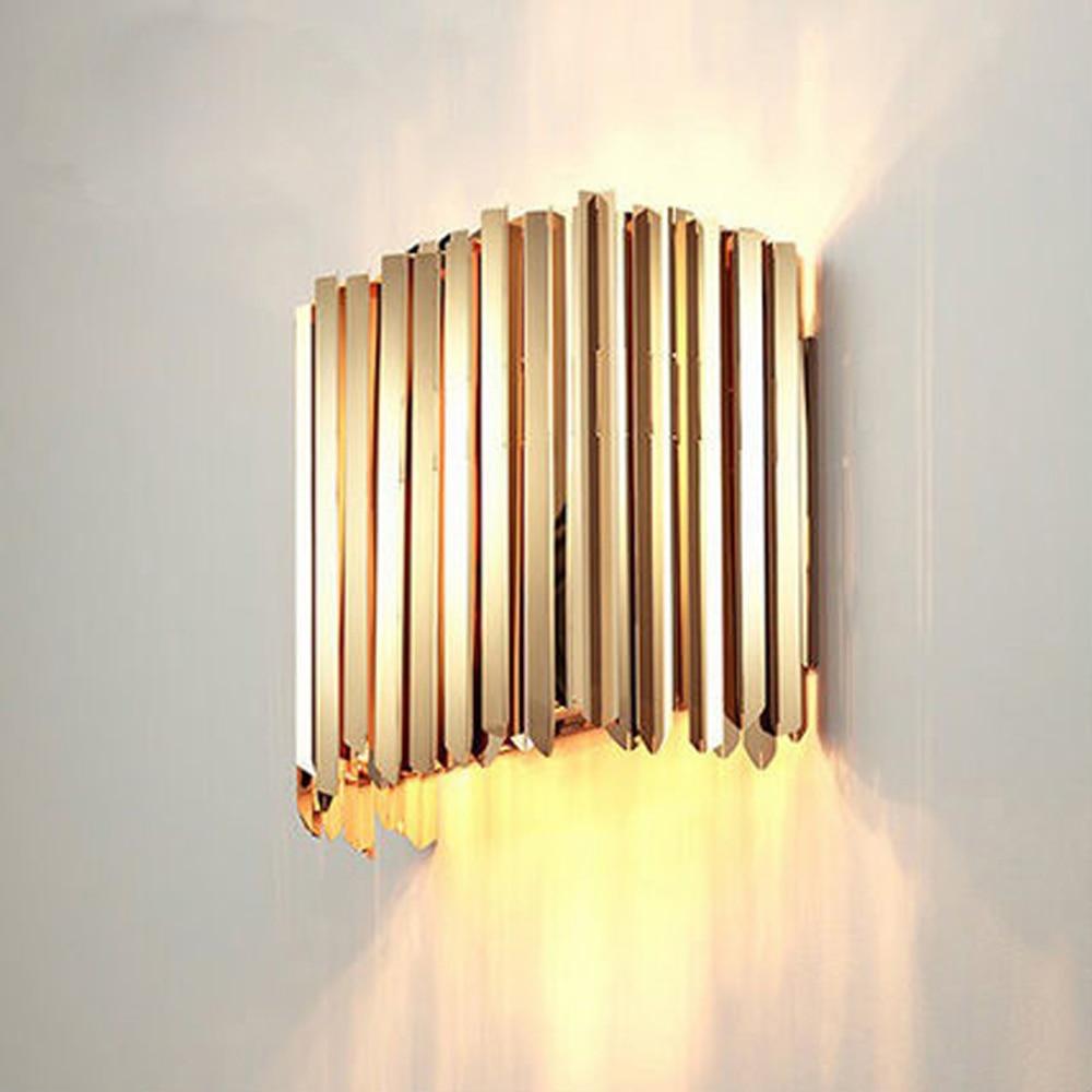 Bref conception en acier inoxydable mur lumière maison moderne déco applique murale LED applique lumières