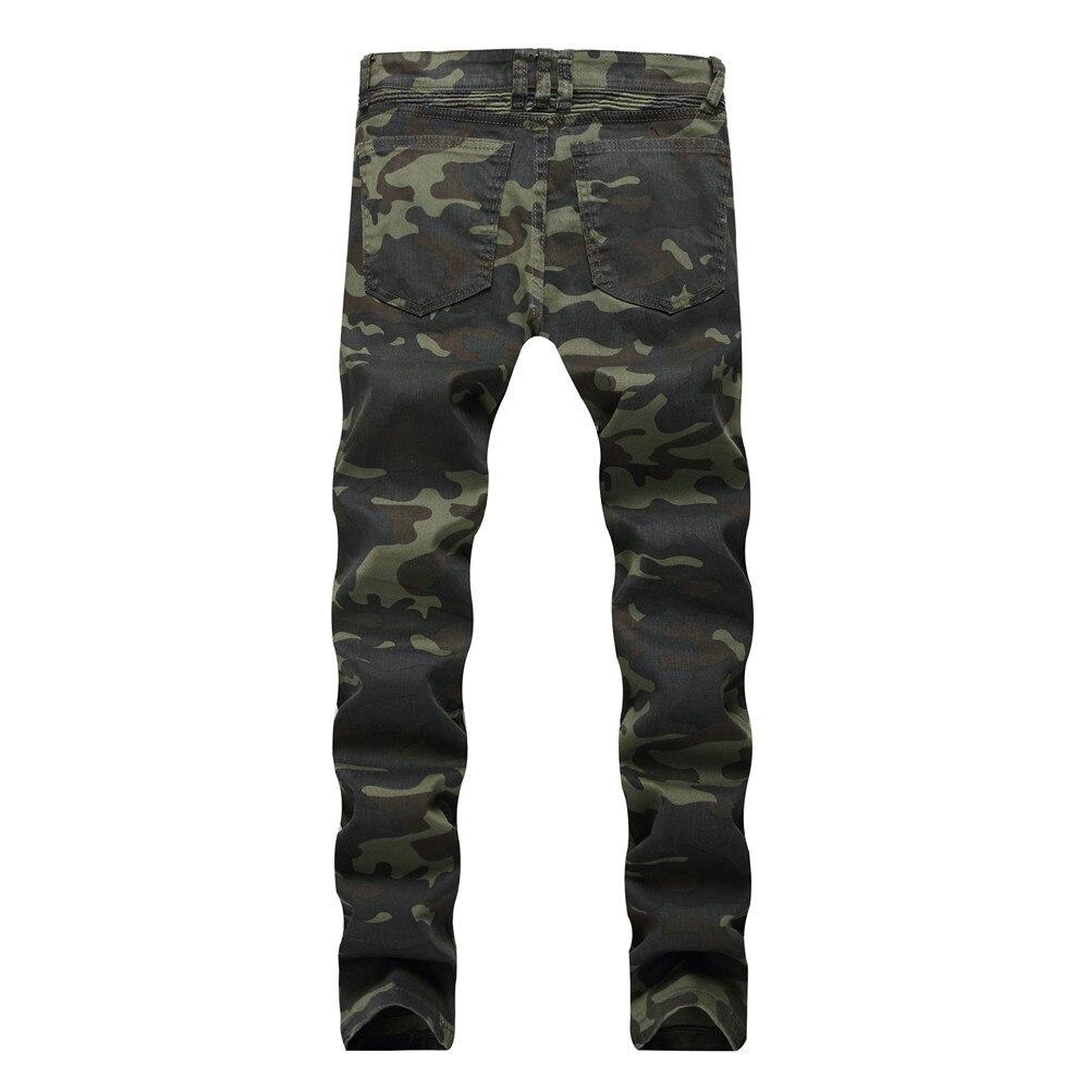 Jeans Denim Hop New Dropshipping Hommes Vert Hip 2018 Biker Camouflage Mince Spliced Mode Militaire Pantalon De g6zcxwqp7g