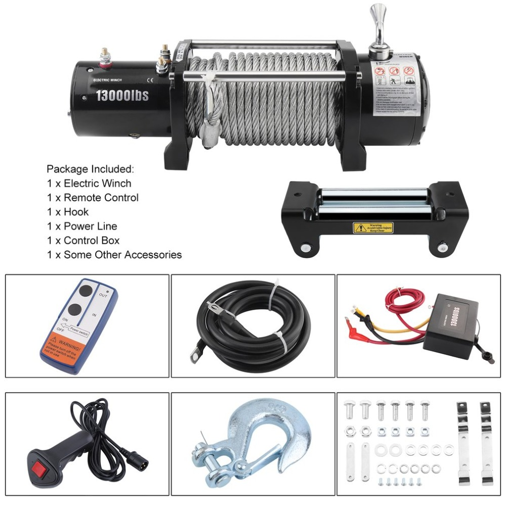 12V Remote Control Electric Winch Motor Vehicle Winch Load Capacity 13000lb/12000lb Powe ...