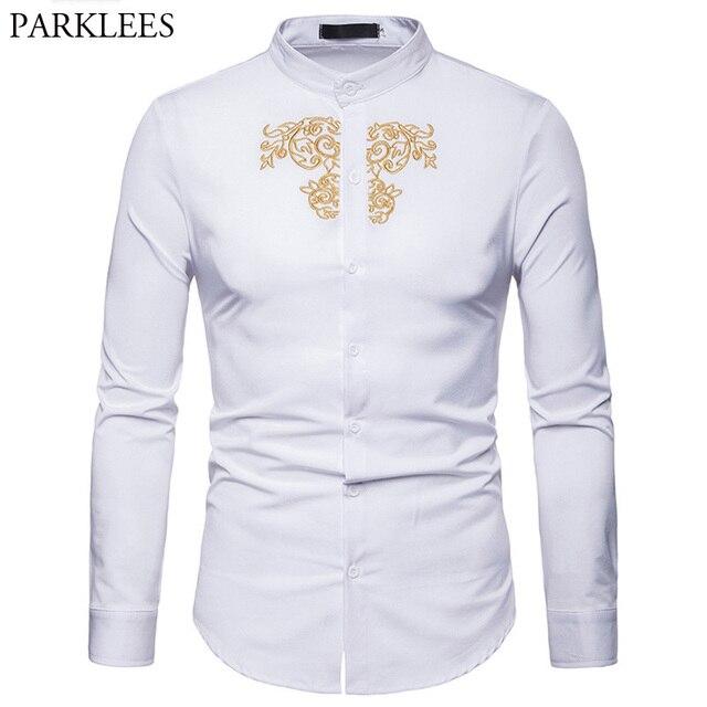 b3b76406610 Stylish Embroidery Henley Shirt Men 2018 Band New Mandarin Collar Slim Fit Dress  Shirts Men Casual
