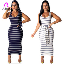 Navy Blue Casual Women Striped Bandage Bodycon Summer Dress Sexy Slim Sleeveless Evening Party Midi White Vestidos