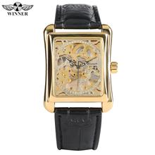 цены Luxury Rectangle Gold Hand-Wind Mechanical Watches for Men Leather Band Watch for Teenagers Transparent Office Men Watch Gifts