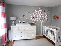 Morden Style Baby Kids Room Art Decoration Vinyl Nursery Tree Wall Sticker Falling Blossoms Cute Hedgehods