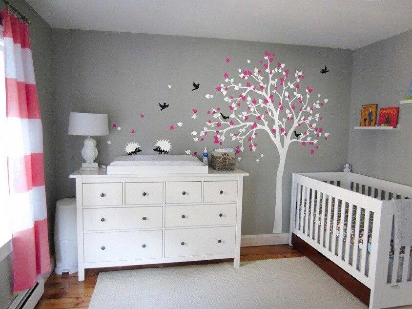 Style moderne bébé enfants chambre Art décoration vinyle pépinière arbre mur autocollant chute de fleurs mignon hérissons oiseaux arbre DecalW-832
