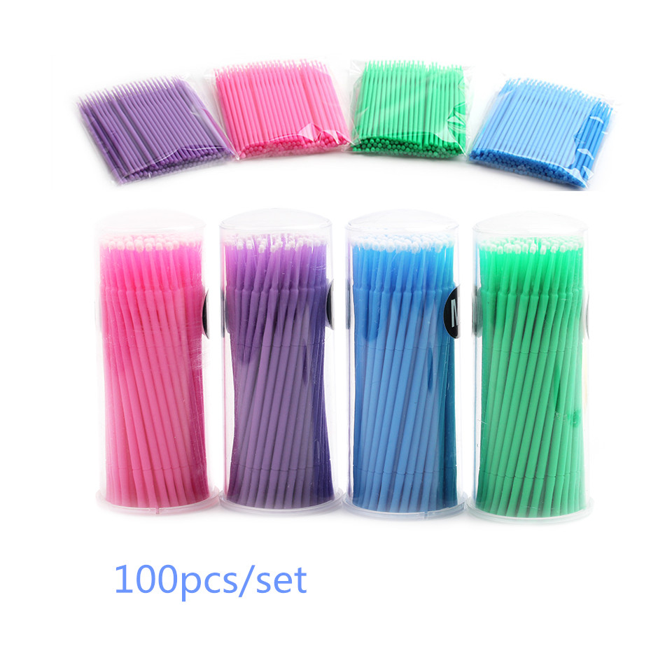 100pcs/Set Glue Cleaning Stick for eyelash Disposable Makeup Cotton Swab Lip  Brushes Applicators Mascara Micro Brush