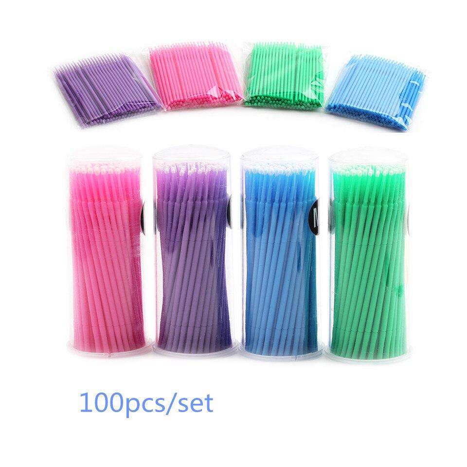 100pcs/Set Glue Cleaning Stick For Eyelash Disposable Makeup Cotton Swab Lip  Brushes Applicators Mascara Micro Brush