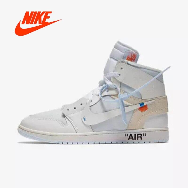 Официальный оригинальный Nike Air Jordan 1 AJ1 ВЛ Off White Для Мужчин's Баскетбол обувь Спорт на открытом воздухе AQ0818-100