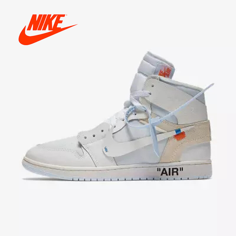 Officiel D'origine Nike Air Jordan 1 AJ1 OW Off Blanc Hommes de basket-ball chaussures sports de Plein Air AQ0818-100