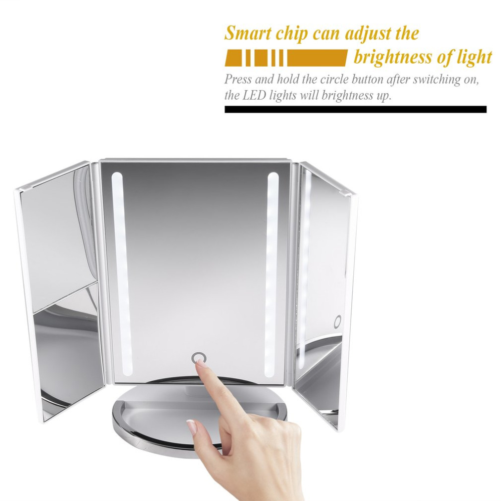 LED Touch Screen Makeup Mirror Table Desktop Makeup 1X/2X/3X Magnifying Mirrors Vanity 3 Folding Adjustable Mirror Cosmetic Gift