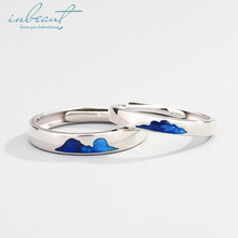 inbeaut Silver Blue Sea Clouds Couple Rings Women and Men You&Me Close Love as Cloud Ocean Ring S925 Engagement Jewelry Female