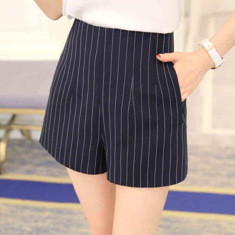 New summer   shorts   women Striped   Shorts   high waist   shorts   Ladies Casual Black pantalones cortos mujer SL073