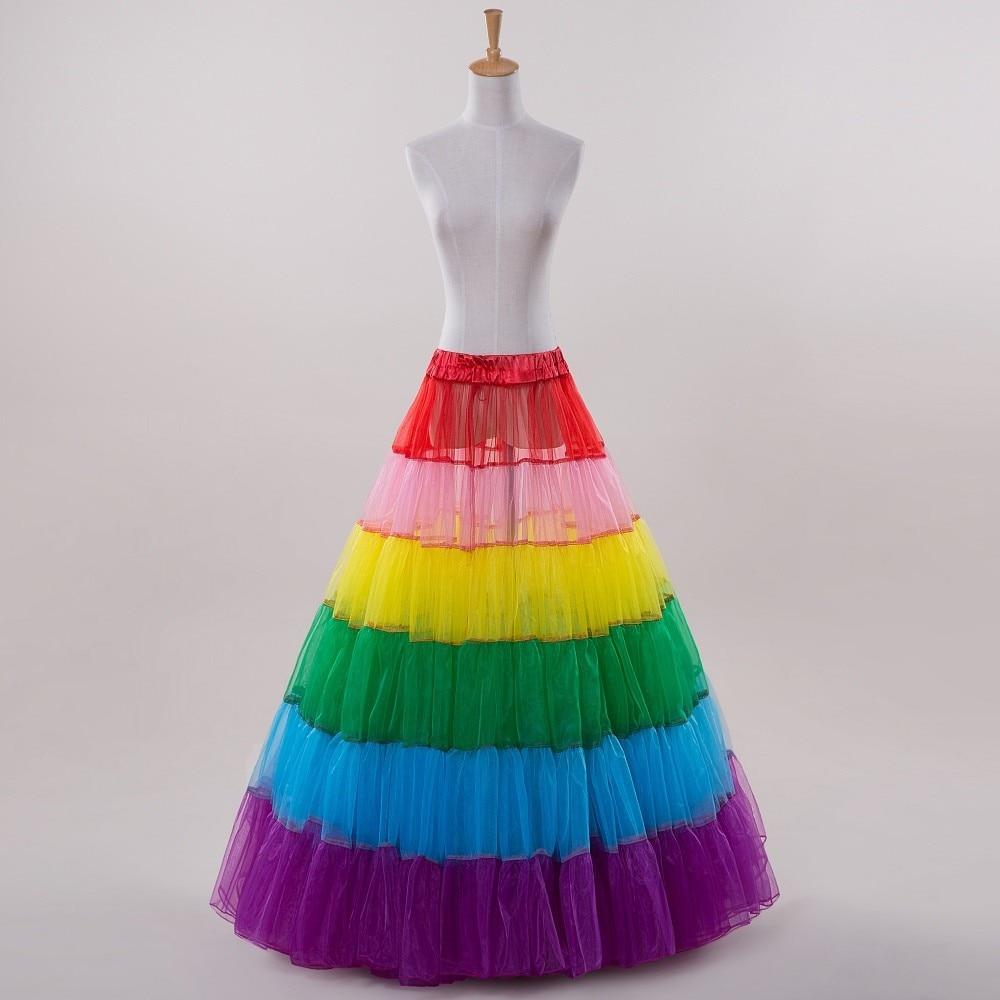 2017 A Line rainbow colorful Pleat Petticoat For Halloween Sexy Wedding  Slip Adjustable Waist In stock 1950s TuTu petticoat-in Petticoats from  Weddings   ... ec255b98048e