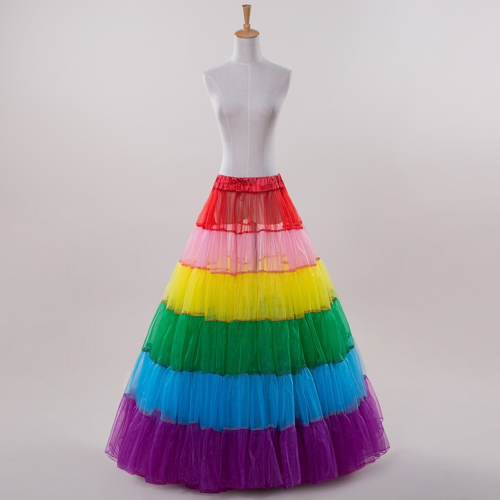 2017 a line rainbow colorful pleat petticoat for halloween sexy wedding slip adjustable waist in stock - Halloween Petticoat