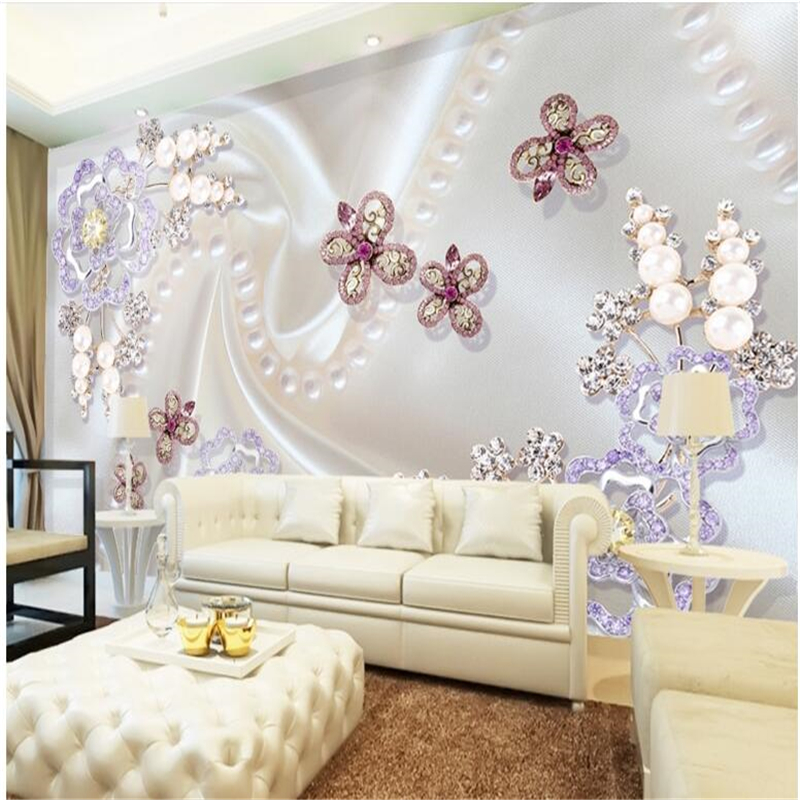 Купить с кэшбэком beibehang Wallpaper Large Mural Pearls Diamond Mosaic Flowers Dielianhua TV Wall Background Wall paper wallpaper for walls 3 d