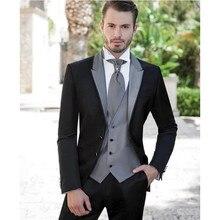 Gri gümüş erkek takım elbise için 2020 düğün takımları damat smokin (ceket + pantolon + yelek) üç adet Groomsmen takım elbise düzenli büyük boyutları