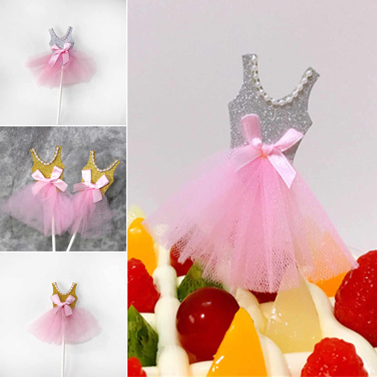 5 個プリンセスゴールドシルバーケーキトッパー装飾カップケーキトッパー女の子ハッピー誕生日結婚式パーティーサプライ