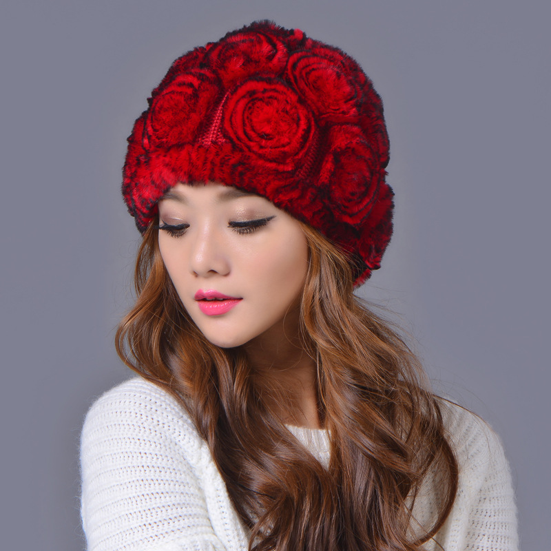 winter beanies fur hat for women knitted rex Raccoon fur hat with large flower top free size casual women's hat Warm dome cap самокат next st pl masha and bear