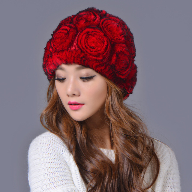 winter beanies fur hat for women knitted rex Raccoon fur hat with large flower top free size casual women's hat Warm dome cap