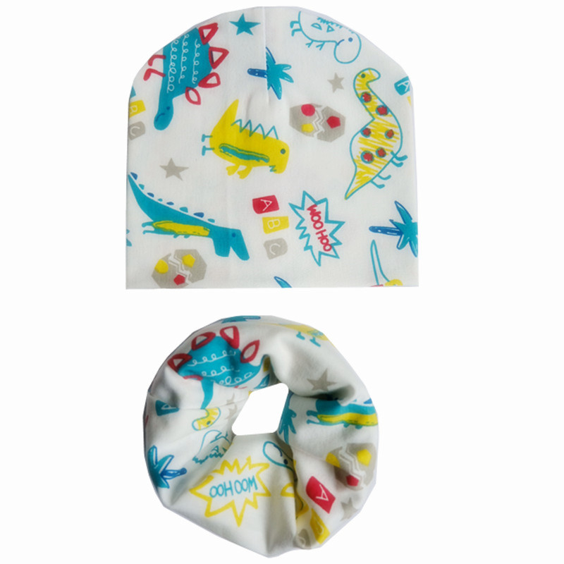 2Pcs/Set Baby Cotton Hat Scarf Spring Autumn Children Caps Scarves Boys Girls Warm Beanie Collar Sets Winter Kids Child Hat Bibs