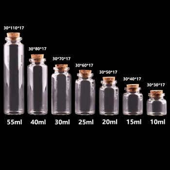 24pcs 10ml 15ml 20ml 25ml 30ml Cute Clear Glass Bottles with Cork Stopper Empty Spice Bottles Jars DIY Crafts Vials - DISCOUNT ITEM  30 OFF Home & Garden