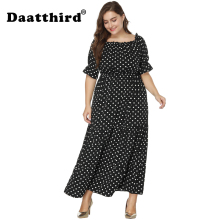 2018 Women's Off Shoulder Polka Dot Print Plus Size Boho Beach Holiday Long Maxi Dress plus tie waist dot print off shoulder dress