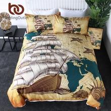 BeddingOutlet Sailing Ship Bedding Set Nautical Map Quilt Cover World Map Retro Bedclothes Oceans Shells Brown Bedspreads 3pcs