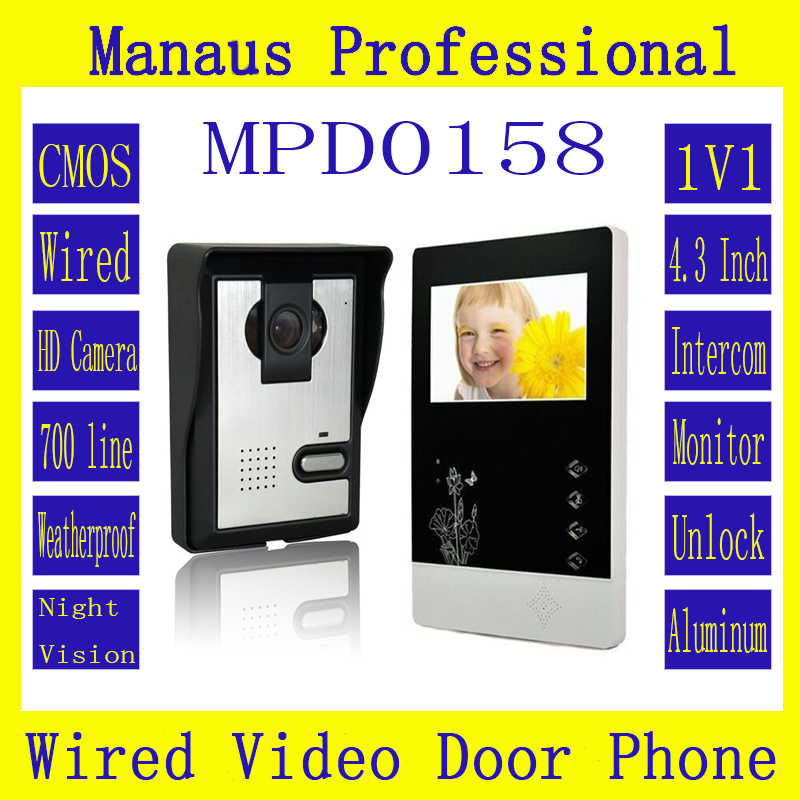 4.3 Inch Color Video Door Phone Indoor Monitor With Waterproof Outdoor Unit,One to One Video Door Phone Intercom System D158b